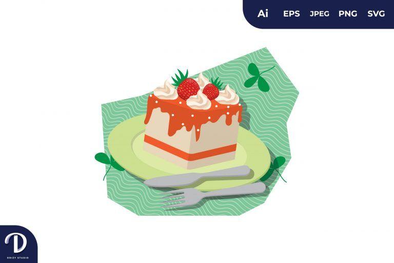 Orange Strawberry Cake Illustration