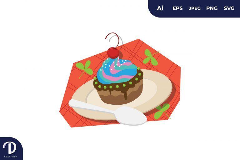 Cupcake Cake Illustration