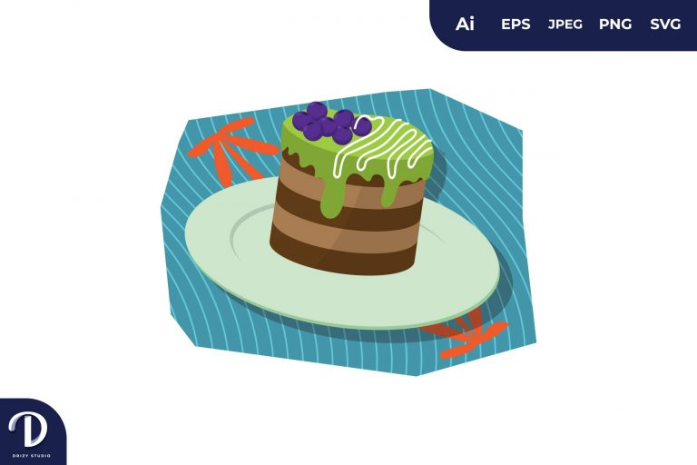 Choco Greentea Cake Illustration