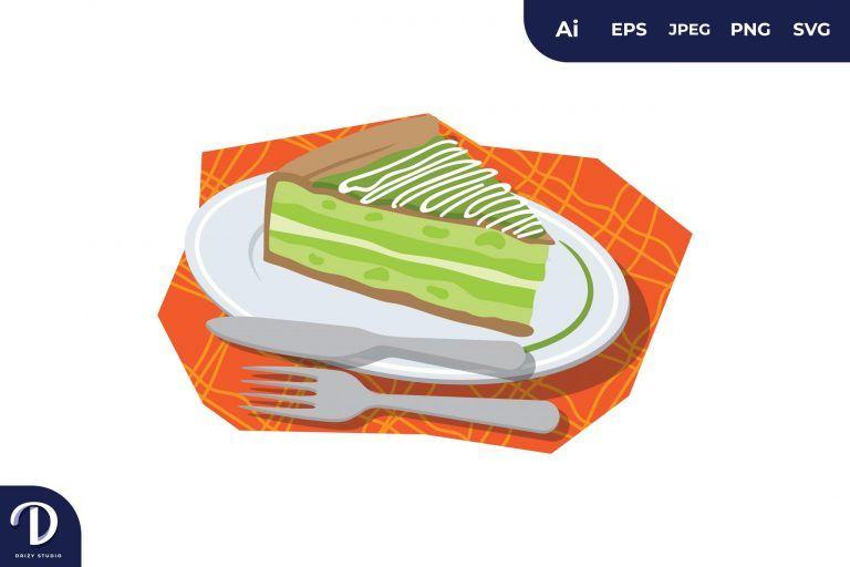 Greentea Cheese Cake Illustration