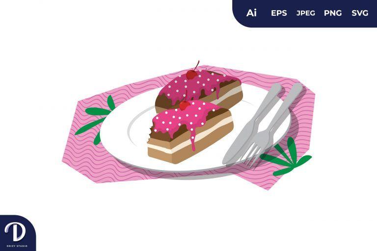 Polka Dot Topping Cake Illustration