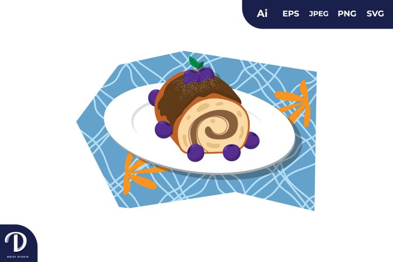 Preview image of Purple Cherry Cake Illustration