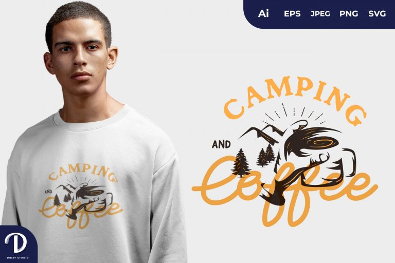 Holding Camping and Coffee for T-Shirt Design