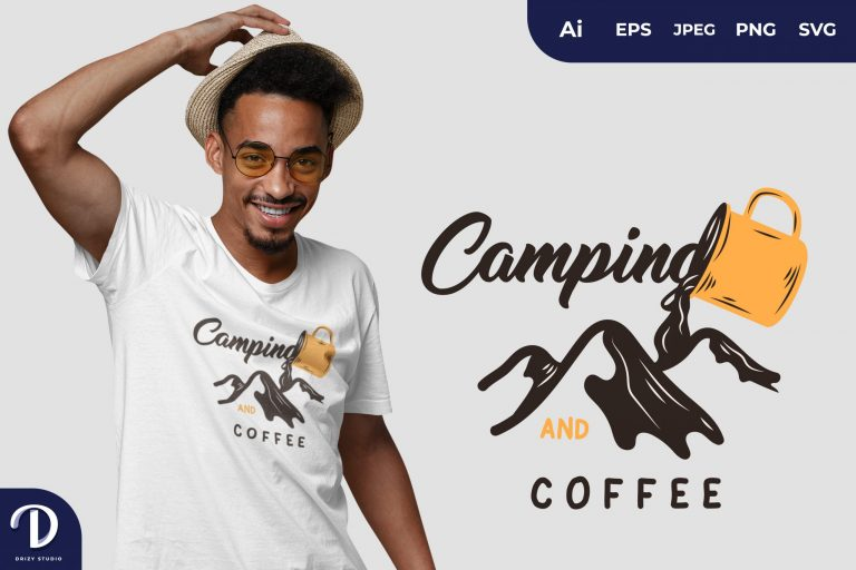 Pouring Camping and Coffee for T-Shirt Design