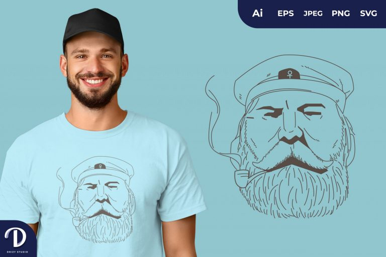 Preview image of Focus Captain Sailor with Smoking Pipe for T-Shirt Design