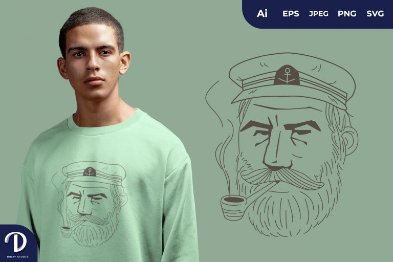 Serious Captain Sailor with Smoking Pipe for T-Shirt Design