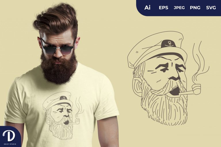 Shout Captain Sailor with Smoking Pipe for T-Shirt Design