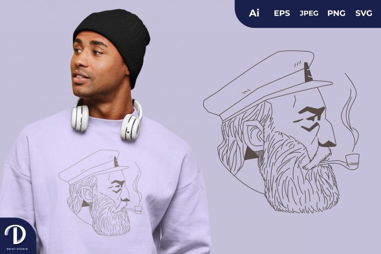 Preview image of Side View Captain Sailor with Smoking Pipe for T-Shirt Design