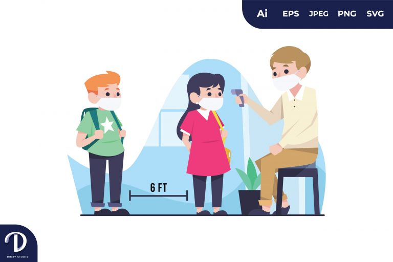 Children Temperature is Measured by The Teacher Illustration