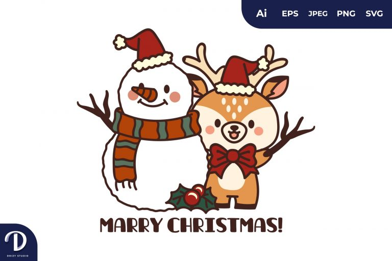 Preview image of Christmas Deers with Snowman