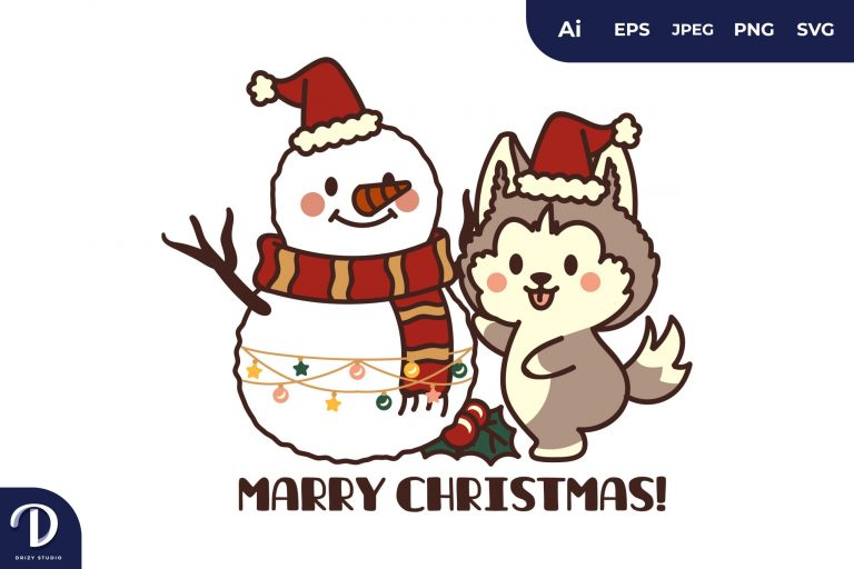 Christmas Dogs with Snowman