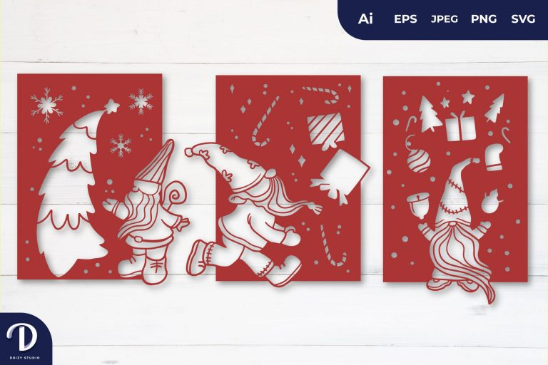Christmas Gnome Card for Papercut