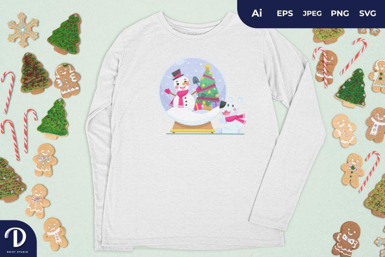 Snowman Christmas Glass Ball for T-Shirt Design