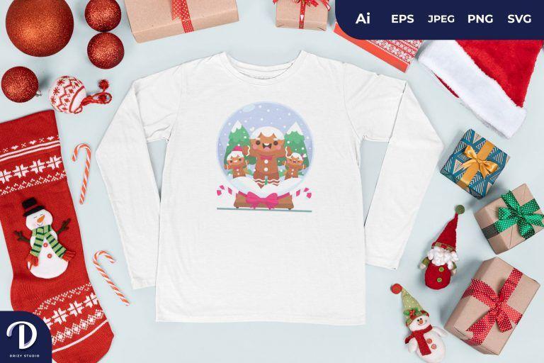 Gingerbread Christmas Glass Ball for T-Shirt Design