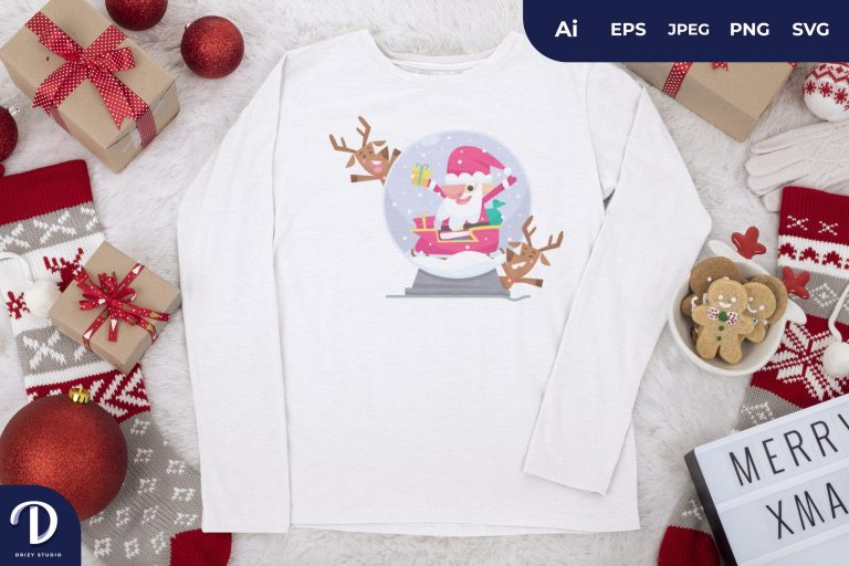 Santa and Deer Christmas Glass Ball for T-Shirt Design