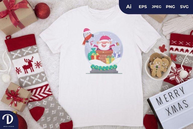 Santa and Penguin Christmas Glass Ball for T-Shirt Design