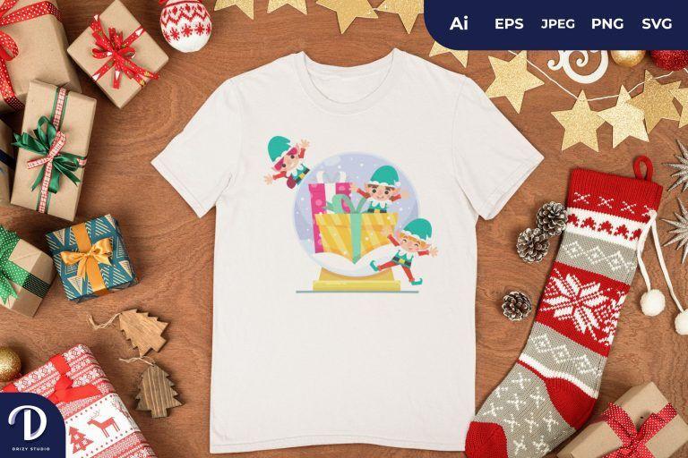 Dwarf Christmas Glass Ball for T-Shirt Design