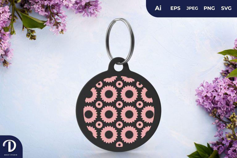 Pink Circle Pattern Keychain