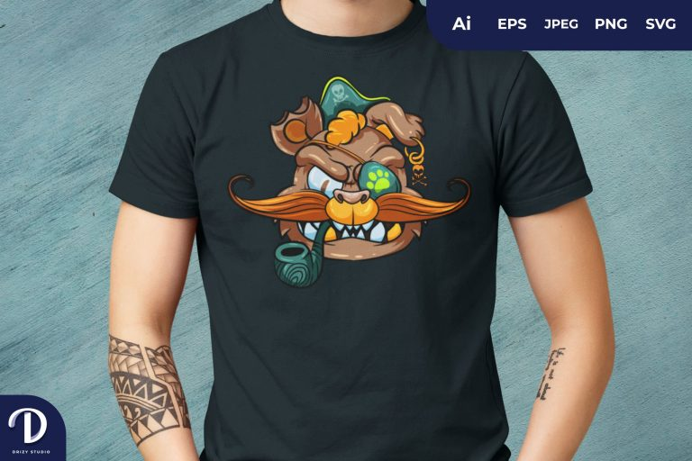 Colorful Beast Pirate for T-Shirt Design