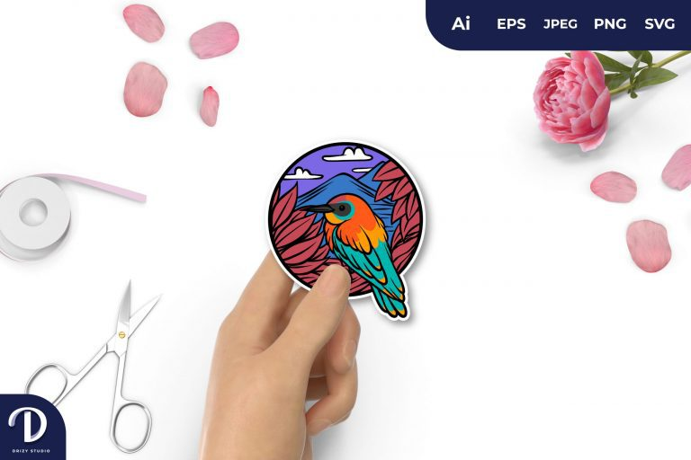 Colorful Bird and Nature for Sticker
