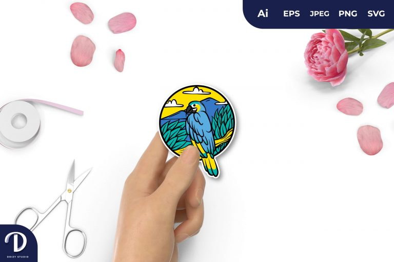Preview image of Colorful Bird and Nature for Sticker