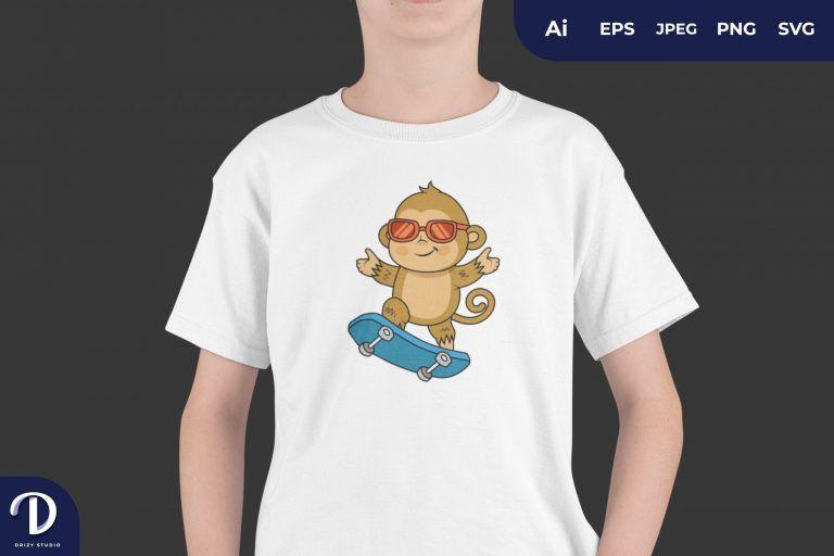 Cute Cool Monkey Skater for T-Shirt Design