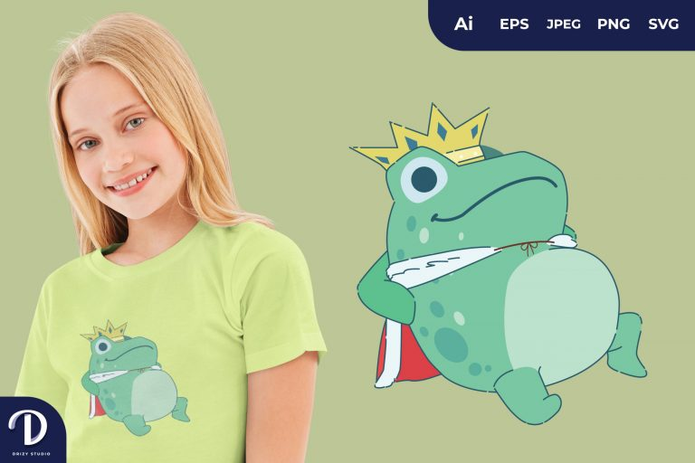 Preview image of Lie Down Cute Frog Prince for T-Shirt Design