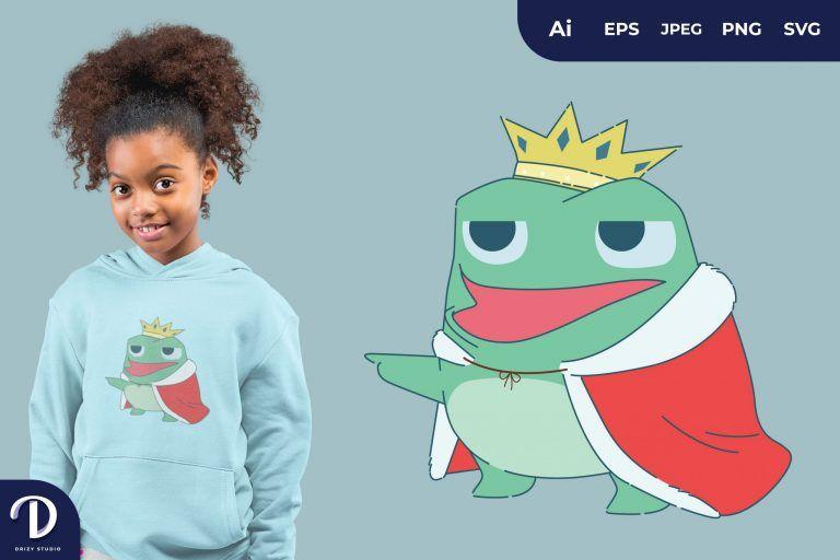 Mock Cute Frog Prince for T-Shirt Design