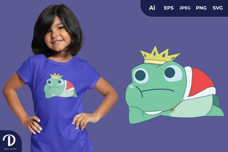 Preview image of Relax Cute Frog Prince for T-Shirt Design