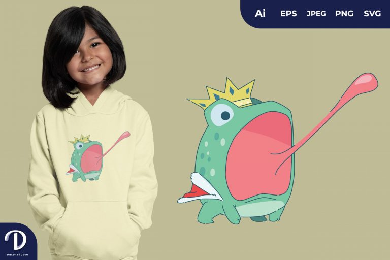 Attack Cute Frog Prince for T-Shirt Design
