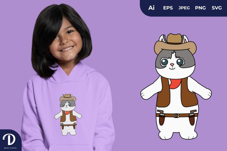 Preview image of Cat Cute Cowboy Animal Illustration for T-Shirt Design
