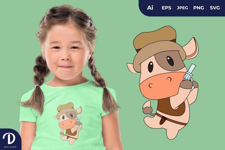 Cow Cute Cowboy Animal Illustration for T-Shirt Design