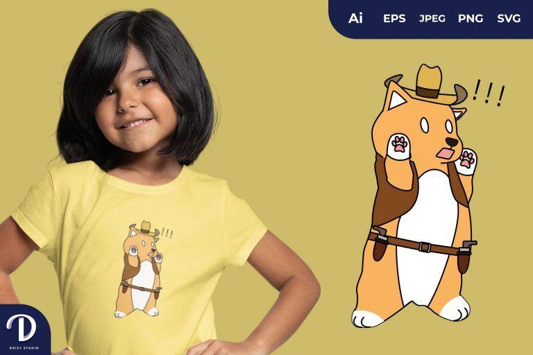 Dog Cute Cowboy Animal Illustration for T-Shirt Design