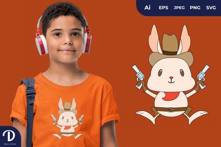 Rabbit Cute Cowboy Animal Illustration for T-Shirt Design