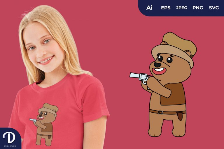 Bear Cute Cowboy Animal Illustration for T-Shirt Design