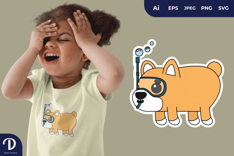 Dog Cute Diving Animal for T-Shirt Design