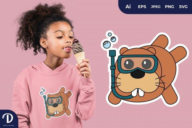 Hippopotamus Cute Diving Animal for T-Shirt Design