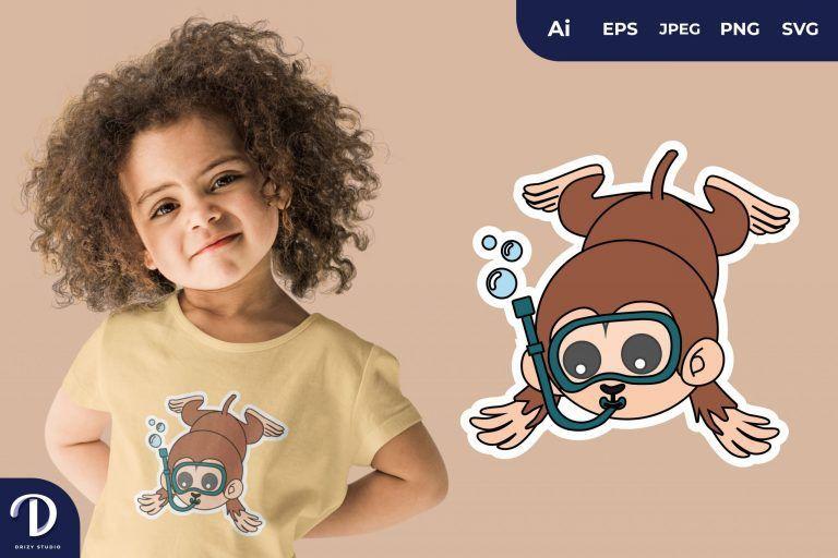 Monkey Cute Diving Animal for T-Shirt Design
