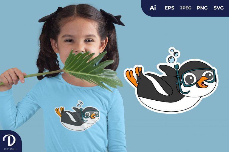 Penguin Cute Diving Animal for T-Shirt Design