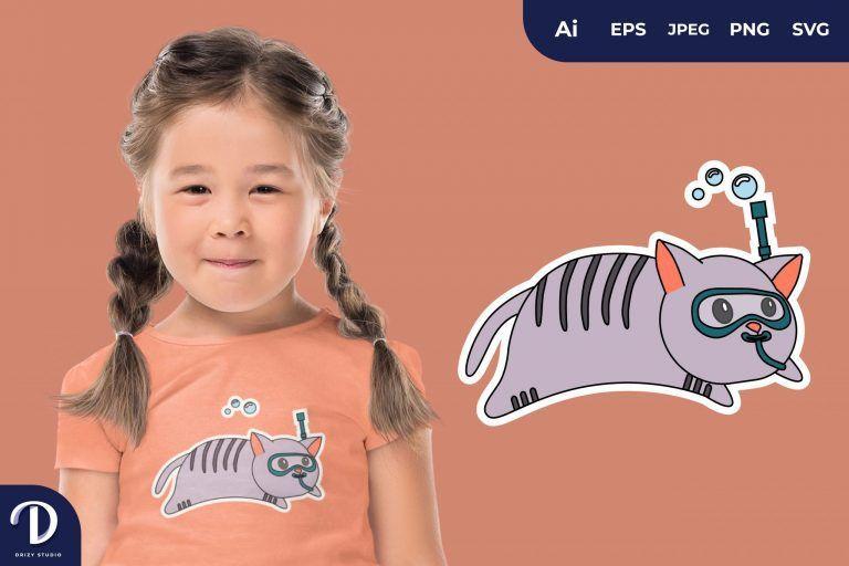 Cat Cute Diving Animal for T-Shirt Design