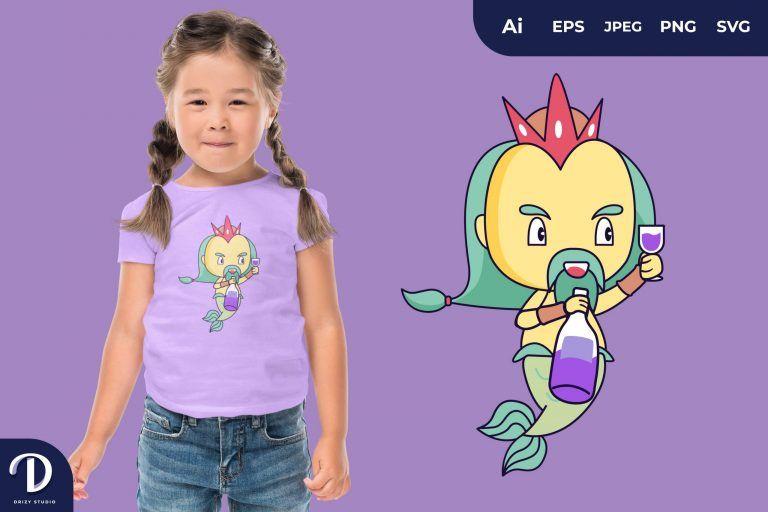 Drink Cute Poseidon for T-Shirt Design