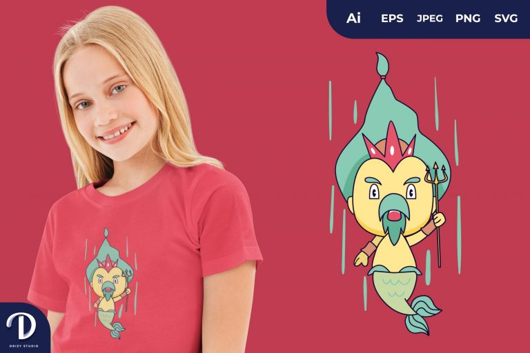 Preview image of Fall Cute Poseidon for T-Shirt Design