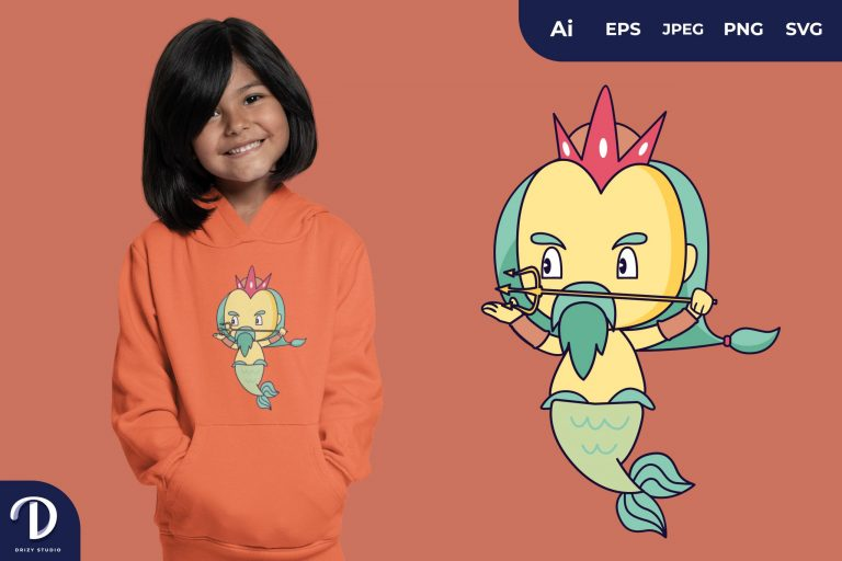 Preview image of Aim Cute Poseidon for T-Shirt Design