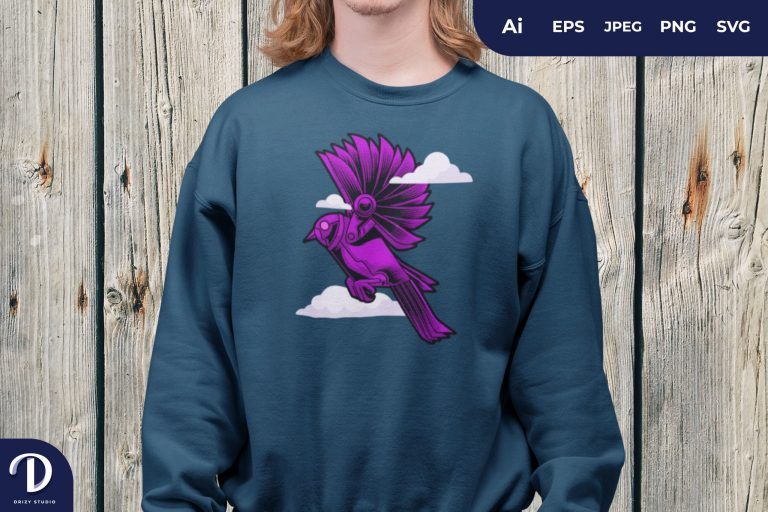 Purple Cyborg Bird in the Sky for T-Shirt Design