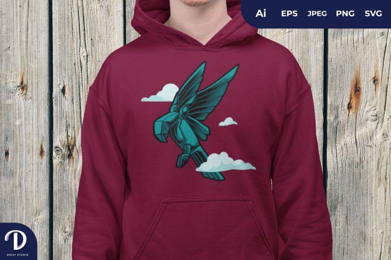 Tosca Cyborg Bird in the Sky for T-Shirt Design