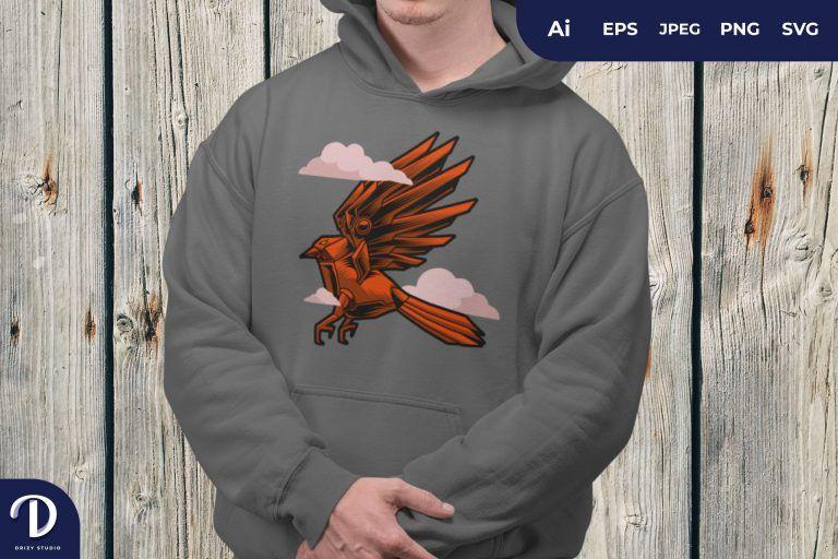 Orange Cyborg Bird in the Sky for T-Shirt Design
