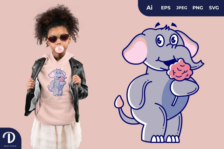 Preview image of Elephant Eating Cotton Candy as Snack Illustrations