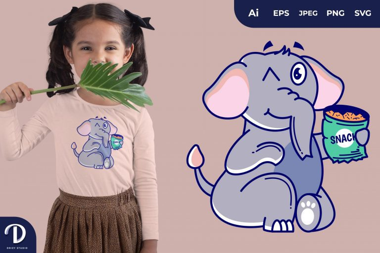 Preview image of Elephant Eating Snack Illustrations