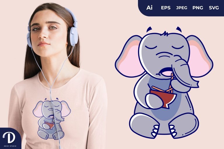 Elephant Eating Snack Stick Illustrations