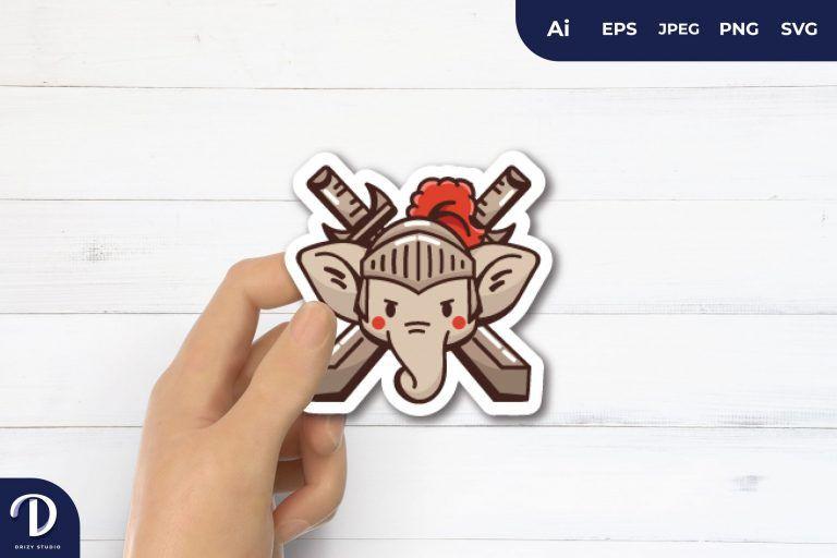 Elephant and Swords for Sticker